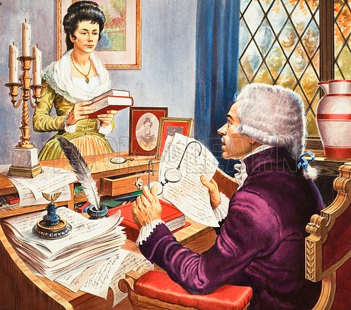 Robespierre and Eleanor Duplay.  Original artwork for cover of Look and Learn issue no 303 (4 November 1967).  Lent for scanning by The Gallery of Illustration.