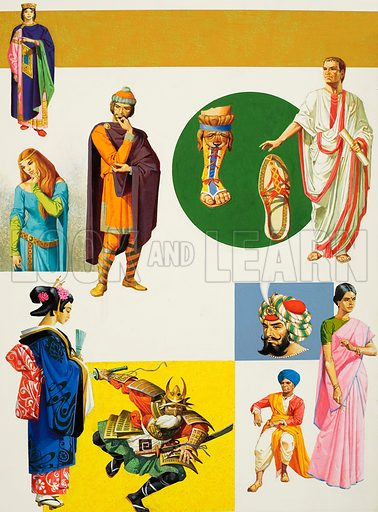 Ancient Costumes, including Saxon, Roman, Japanese and Indian. Original artwork for Look and Learn (issue yet to be identified).