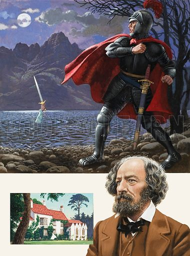 Excalibur being returned to the lake from whence it came.  Bottom: Lord Tennyson with a picture of the Rectory where he spent his childhood.  Original artwork for illustration on p23 of Look and Learn issue no 952 (19 April 1980).  Lent for scanning by The Gallery of Illustration.