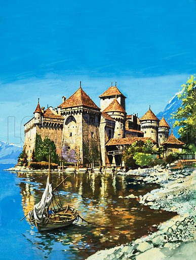 Chateau de Chillon,  picture, image, illustration