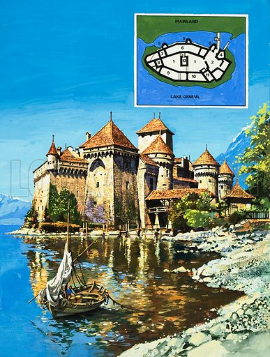 Chateau of Chillon. For more than 700 years, the Chateau de Chillon has watched over Lake Geneva and the trade route to Rome. It was immortalised by the English poet Lord Byron in hte poem The Prisoner of Chillon.