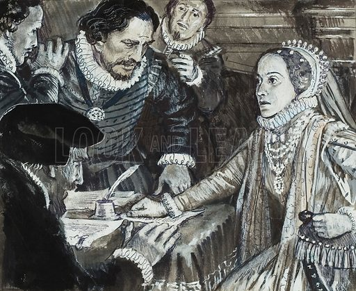 Queen Elizabeth I in consultation.  Original artwork for illustration in Look and Learn (issue yet to be identified).  Lent for scanning by The Gallery of Illustration.