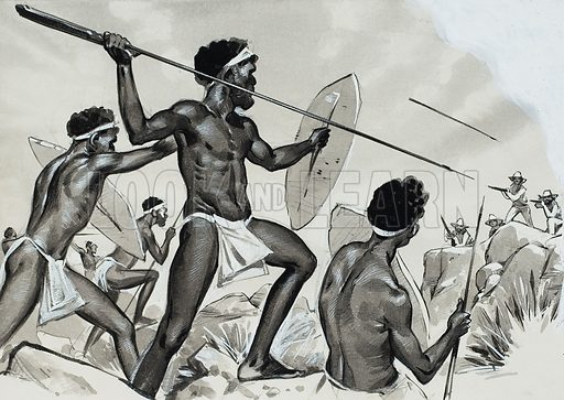 Aborigines under attack.  Original artwork for illustration on p26 of Look and Learn issue no 427 (21 March 1970).  Lent for scanning by The Gallery of Illustration.
