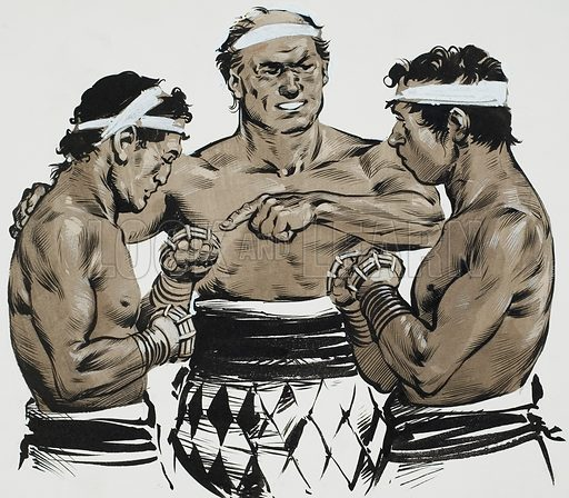 Boxing.  The Etruscans built the Circus Maximus where they taught the native Romans how to box and to run horses.  Original artwork for illustration on p3 of Look and Learn issue no 615 (27 October 1973).  Lent for scanning by The Gallery of Illustration.
