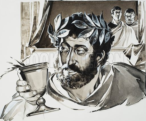 Commodus.  He reigned evilly and corruptly and placed his court favourities, who were worthless men, in the highest offices in the empire.  After putting up with him for 12 years, his enemies had him assassinated.  Original artwork for illustration on p3 of Look and Learn issue no 626 (12 January 1974).  Lent for scanning by The Gallery of Illustration.