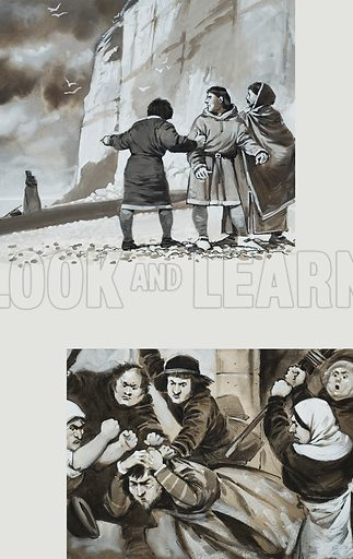 Unjust Judges.  Top: A corrupt judge disguised as a woman.  Bottom: A judge being dragged out of church by an angry mob.  Original artwork for illustrations on p13 of Look and Learn issue no 1005 (13 June 1981).  Lent for scanning by The Gallery of Illustration.