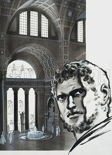 The Baths of Caracalla.  The baths of Caracalla were completed by his successors and formed a perfect square of 1,100 feet on every side.  Caracalla's portrait is in the foreground.  Original artwork for illustration on p2 of Look and Learn issue no 626 (12 January 1974).  Lent for scanning by The Gallery of Illustration.