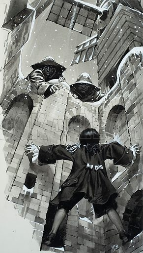 Ventillator Shaft. Only feet from freedom, Smith looked up – and shrieked with despair. The two murderers were waiting for him up there. Original artwork for story illustration on p24 of Look and Learn issue no 350 (28 September 1968).