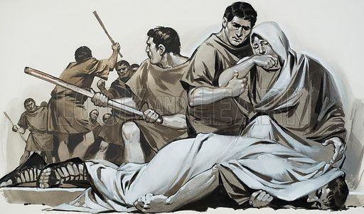 Tiberius Gracchus.  Tiberius Gracchus tried to push through land reforms for the peasants, but the wealthy middle class opposed him and during a crucial vote rioting broke out and the worthy champion was killed by the mob.  Original artwork for illustration on p5 of Look and Learn issue no 619 (24 November 1973).  Lent for scanning by The Gallery of Illustration.