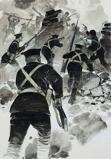 Dardanelles Campaign.  The beginning of the campaign was a success, and Naval landing parties spiked many of the guns that guarded the entrance to the Dardanelles channel.  Original artwork for illustration on p6 of Look and Learn issue no 588 (21 April 1973).  Lent for scanning by The Gallery of Illustration.