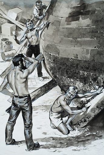 Insula. She was hauled out of the water and had her bottom scraped yet again. Original story illustration on p13 of Look and Learn issue no 360 (7 December 1968).