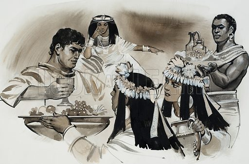 Antony and Cleopatra.  All the luxuries of the land were put in Antony's way to persuade him that there was no better life than life with Cleopatra.  Original artwork for illustration on p4 of Look and Learn issue no 622 (15 December 1973).  Lent for scanning by The Gallery of Illustration.