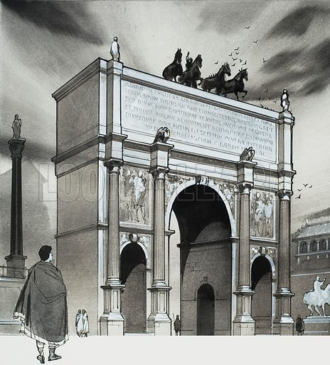 Triumphal Arch.  In honour of their emperor, Severus, the Senate built the triumphal arch which still stands opposite the Capitol in Rome today.  Original artwork for illustration on p5 of Look and Learn issue no 626 (12 January 1974).  Lent for scanning by The Gallery of Illustration.