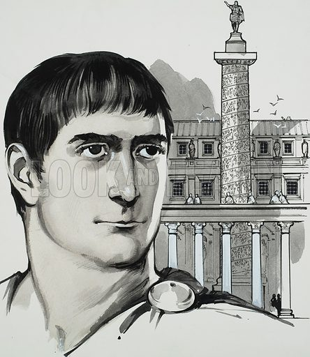 Trajan.  To mark his triumph over Dacia, Trajan raised the Forum named after him.  In the middle of this rose a great column recounting in bas relief the story of the Dacian Wars.  Original artwork for illustration on p3 of Look and Learn issue no 625 (5 January 1974).  Lent for scanning by The Gallery of Illustration.