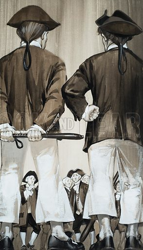 Press Gang.  A group of servants, who gave up their jobs in Germany, in the hope of bigger wages elsewhere, found on their arrival in Britain that a naval press gang was waiting for them.  Original artwork for illustration on p41 of Look and Learn issue no 611 (29 September 1973).  Lent for scanning by The Gallery of Illustration.