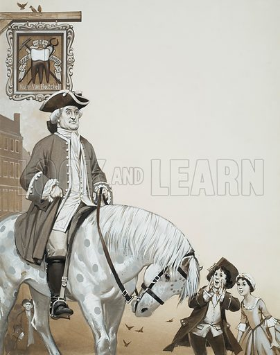 Quack.  To attract clients to his dubious practice, Martin Van Butchell rode down Rotten Row, London on a white pony painted with purple spots.  Original artwork for illustration on p31 of Look and Learn issue no 577 (3 February 1973).  Lent for scanning by The Gallery of Illustration.