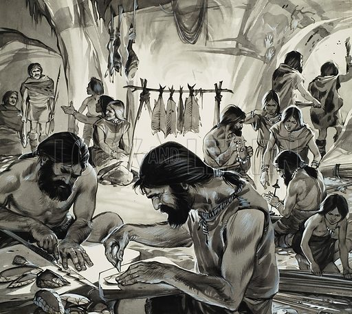 Mankind in the Making: Ice-Age Artists.  Original artwork for illustration on p3 of Look and Learn issue no 246.  Lent for scanning by The Gallery of Illustration.