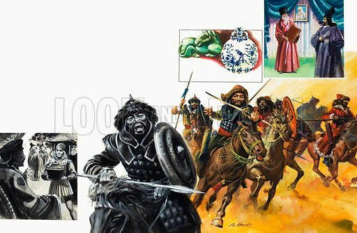 Mongol Invaders.  Left inset: Marco Polo.  Top right inset: Missionaries including the Italian Jesuit priest, Matteo Ricci who spoke Chinese.  Original artwork for illustrations on pp6-7 of Look and Learn issue no 964 (30 August 1980).  Lent for scanning by The Gallery of Illustration.