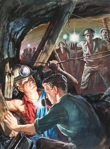 A J Cronin, Author of The Citadel.  By the dim light of miners' lamps Dr Andrew Manson saw that the man's arm was hopelesly trapped.  There was only one way out - amputation.  Original artwork for illustration on p19 of Look and Learn issue no 135 (15 August 1964).  Lent for scanning by The Gallery of Illustration.
