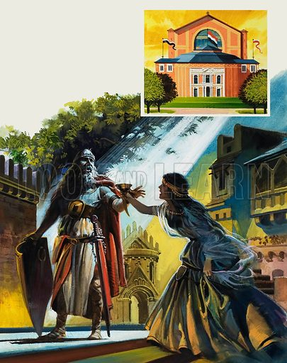Wagner's Opera House at Bayreuth, with a scene being performed from Tristan and Isolde. Original artwork for illustration on p23 of Look and Learn issue no 1025 (31 October 1981).