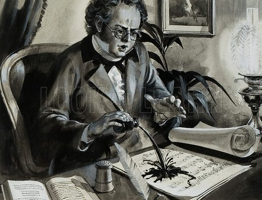 "Schubert accidentally pouring ink over his score of the song, The Trout.  But all was not lost: he had made four copies and sent them to this friends.  Two years later, the young composer incorporated the song into his famour ""Trout"" Quintet.  Original artwork for illustration on p27 of Look and Learn issue no 867 (26 August 1978).  Lent for scanning by The Gallery of Illustration."