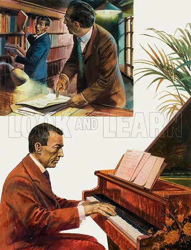 Rachmaninoff.  Top: The First Symphony by Rachmaninoff might never have been performed again if it had not been for a group of Russian musicians who discovered a manuscript of the work in a library.  Bottom:  The hours of practice that he had put in as a youth led to Rachmaninoff becoming a highly talented performer at the piano.  Original artwork for illustration on p23 of Look and Learn issue no 1027 (14 November 1981).  Lent for scanning by The Gallery of Illustration.