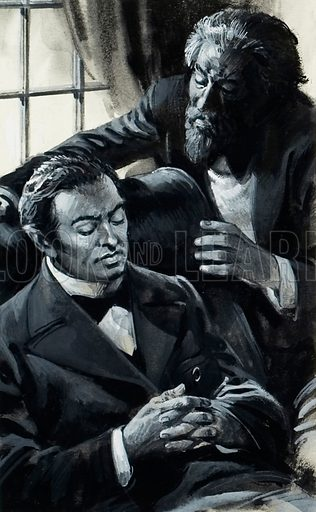 Rachmaninoff. So depressed was Sergei Rachmaninoff by the failure of his First Symphony that he went to a doctor, who used hypnosis to shake him out of his despair. Original artwork for illustration on p22 of Look and Learn issue no 1027 (14 November 1981).