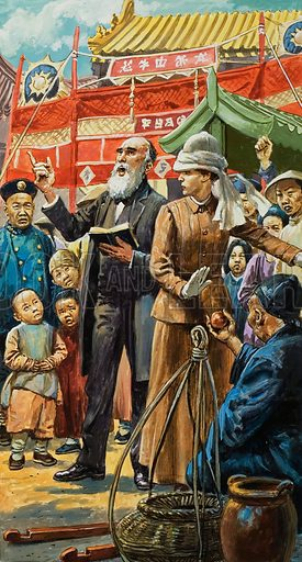 The preaching of foreign missionaries was bitterly resented by the Chinese, and finally it triggered off a nightmare. Original artwork for illustration on p11 of L&L no.799 (7 May 1977).