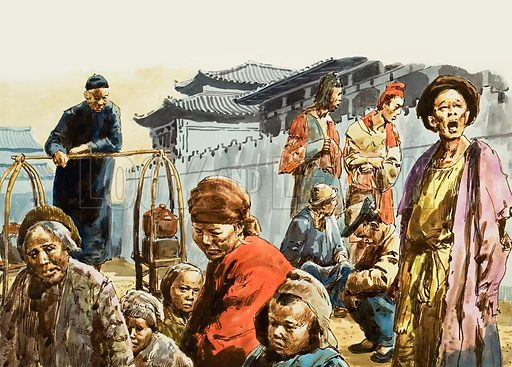 Misery stalked the land of China, partly through natural disasters, partly through over-population and bad government. Original artwork for illustration on p10 of L&L no.799 (7 May 1977).