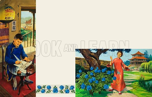 Two scenes of Chinese life in a noble family. Left: A boy practises calligraphy beneath a Chinese lantern. Right: A young woman walks through a garden in which grow miraculous blue roses, a pagoda in the middle distance. Original artwork.