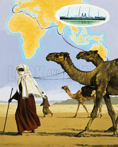 Camels delivering coal to Suez, with a map charting the route from Sydney to London on the P.&O. line. Inset: The Oceana, 1887. Original artwork for illustration on p5 of L&L no.456 (10 October 1970).