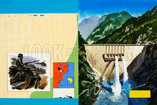 Harnessing the Mighty Zambezi - the giant Cabora-Bassa Dam in Portuguese Mozambique. Inset: A military patrol to protect the dam.  Original artwork for illustrations on pp12-13 of L&L no,561 (14 October 1972).