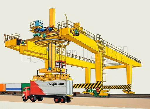 The Arrol Goliath 2-6-3. Giant mobile cranes are revolutionising the way freight is carried from one place to another. Original artwork for iluustration in Look and Learn.