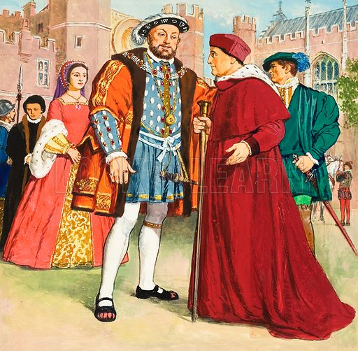 Thomas Wolsey with Henry VIII.  Original artwork for illustration on p73 of World of Wonder Book 1976.  Lent for scanning by The Gallery of Illustration.