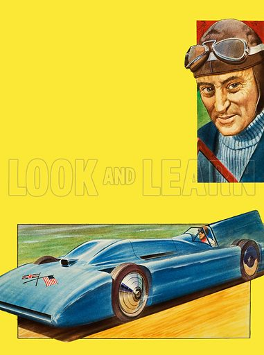 The Search for Speed. Sir Malcom Campbell and Bluebird. Original artwork for the illustrations on p2 of L&L no. 1027 (14 November 1981).