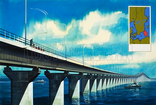 Sweden's holiday island of Oland is now connected to the fast continental motorways by Europe's longest bridge, which spans the Kalmar Sound. Oland lies in the Baltic Sea. Original artwork for the illustration on pp12-13 0f L&L no.573 (6 January 1973).