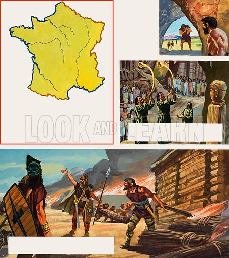 Story of France.  Original artwork for Look and Learn (issue yet to be identified).  Lent for scanning by The Gallery of Illustration.