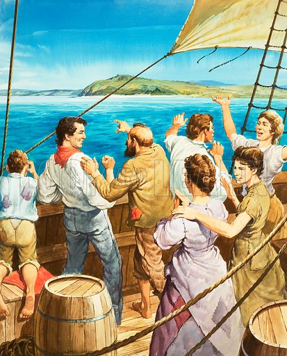 The welcome sight of land. Excited passengers aboard one of the ships transporting emigrants and criminals to Australia. Original artwork for the illustration on p27 of L&L no. 423 (21 February 1970).