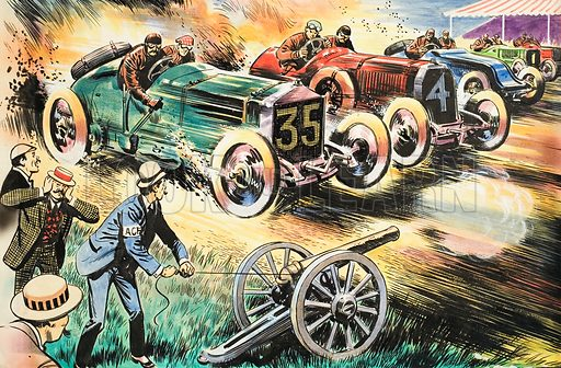 An unidentified early car race, with a cannon used instead of a starting flag. The comicality of the scene suggests a humorous subject is being illustrated. Original artwork.