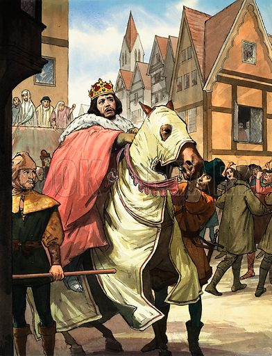 Romance of the English Theatre. A scene from Shakespeare's Richard II. This scene, with Charles Kean as the unhappy Richard, jeered at by Londoners, is not even in Shakespeare but is described later by one of the characters. Original artwork for the illustration on p 13 of L&L no. 204 (11 December 1965).