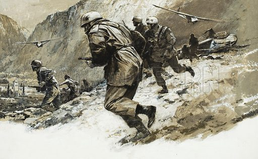 The Nazi commando raid under Captain Otto Skorzeny's command, which took place high in the Abruzzi mountains, at the Campo Imperatore Hotel, where the deposed Italian dictator, Benito Mussolini, was being kept under close arrest. Original artwork for the illustration on pp6-7 of L&L no. 344 (17 August 1968).
