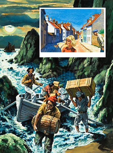 A smuggling scene, with smugglers bringing their goods into a moonlit Cornish cove aboard a small rowing boat, in the distance a ship turns away beneath the full moon. Inset: An innocent looking Cornish fishing village by day. Original artwork for L&L no. 956 (17 May 1980).