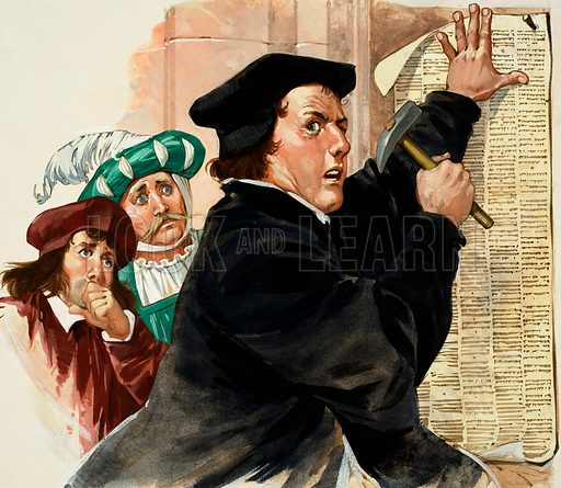 Martin Luther nailing his Ninety-Five Theses to the door of Wittenberg Church, thus dealing a symbolic blow to the Catholic church which began the Reformation. Original artwork.