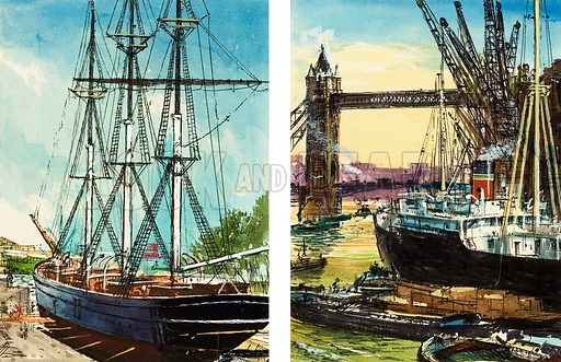 A tall ship in the lower reaches of the Thames, and a steam-driven cargo ship near Tower Bridge in the Port of London, docklands cranes filling the sky. Original artwork.