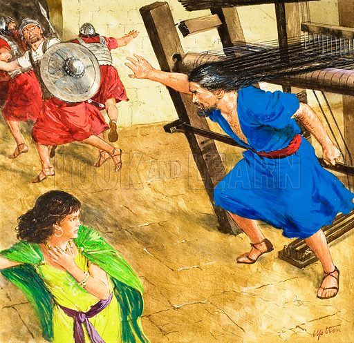 The Story of Samson retold, taken from The Bible, The Book of Judges, Chapters 14-16. The braided hair. Original artwork for illustration on p9 of Treasure no. 177.