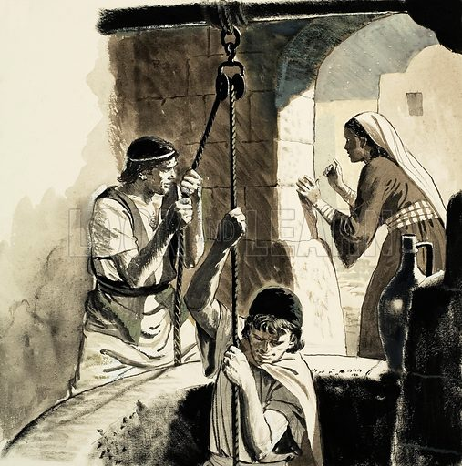 David's Friends and Foes. 2 Samuel Chapters 16–17. A woman hid Jonathan and Ahimaaz in an old well and the guards did not find them. Original artwork for illustration on p11 of Treasure no.140.
