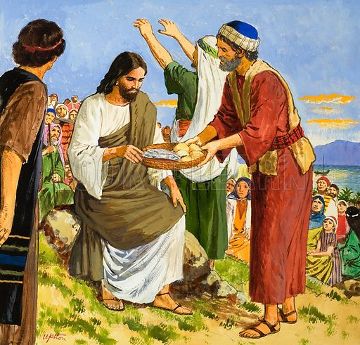 The Amazing Love of Jesus: Feeding the Five Thousand. Original artwork for illustration on p9 of Treasure no. 243.