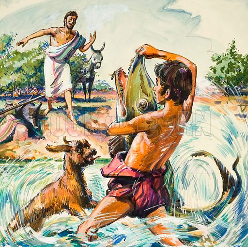 Tobias and the Fish. From the bank, Azarias shouted words of encouragement as Tobias grappled with the huge fish and dragged it ashore.  Original artwork for illustration on p9 of The Bible Story issue no 17.  Lent for scanning by The Gallery of Illustration.