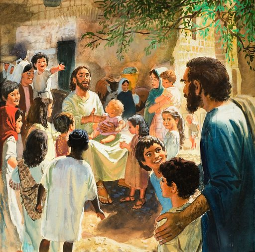 """Christ with Children. """"Suffer the little children to come unto me ...""""  Original artwork for cover of The Bible Story issue no 9.  Lent for scanning by The Gallery of Illustration."""