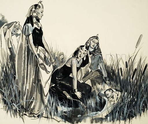 Moses is found among the bullrushes by the Pharaoh's daughter and her attendants. Original artwork for The Bible Story.